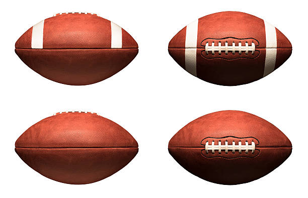 American Footballs Isolated on White Background stock photo