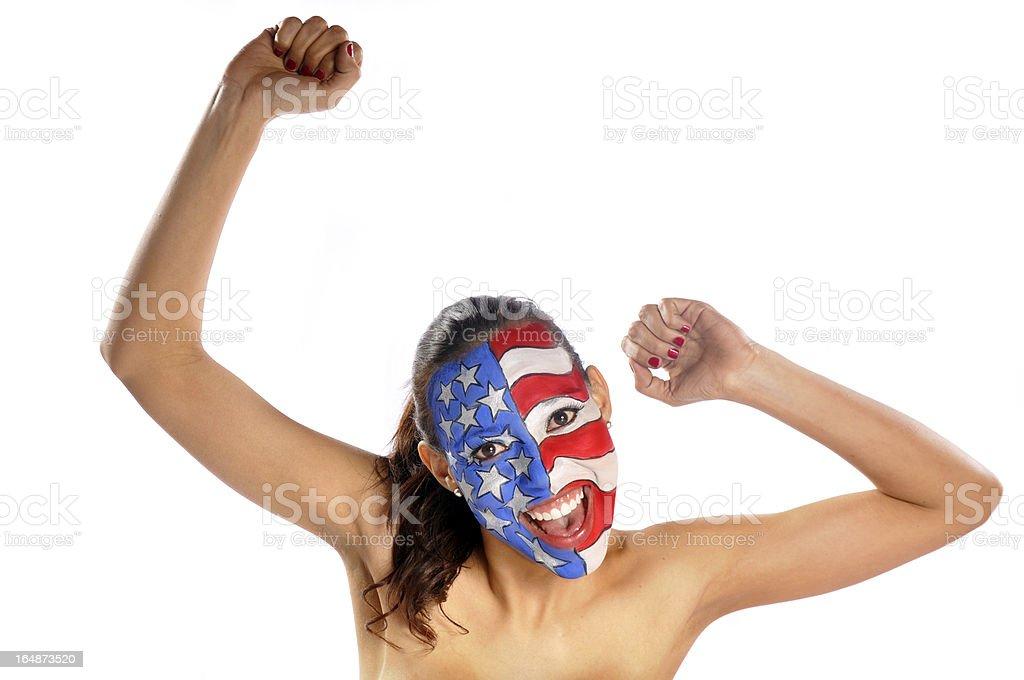 American girl fan royalty-free stock photo