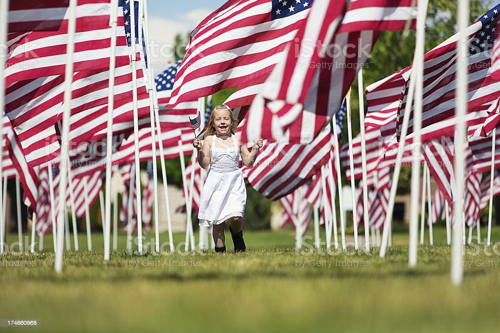 American girl on memorial day royalty-free stock photo