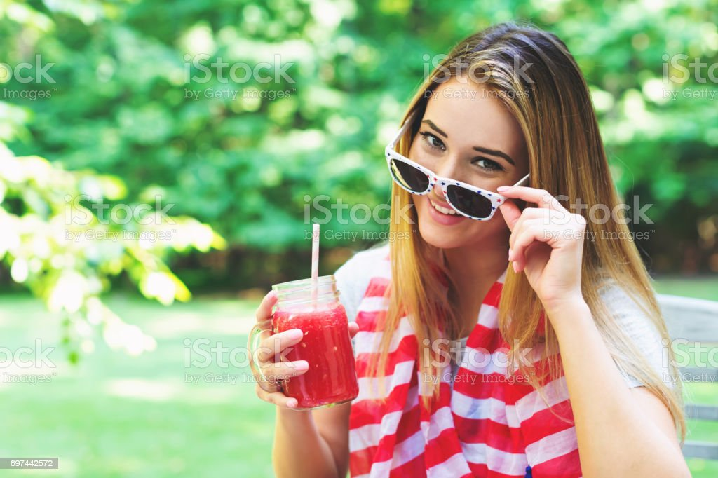 American girl on the fourth of July stock photo