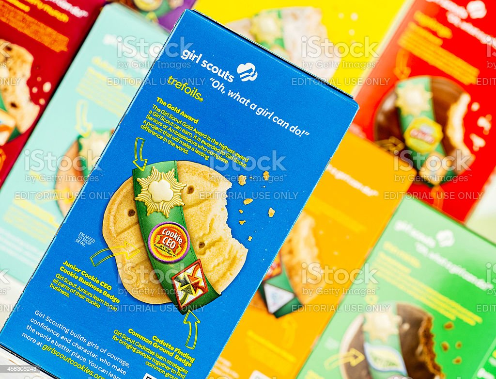 American Girl Scout Cookies royalty-free stock photo