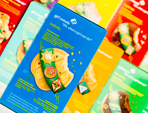 Suffolk, Virginia, USA - March 10, 2013: A horizontal format studio shot of several boxes of different flavored Girl Scout Cookies, with focus on the variety called, \
