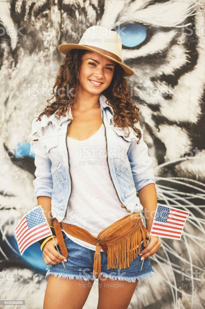 American girl smiling stock photo