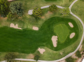 Condition when seeing an American golf course from above.