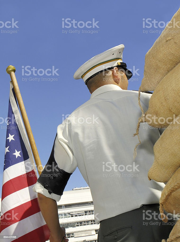 American guard at Checkpoint Charlie Museum Berlin royalty-free stock photo