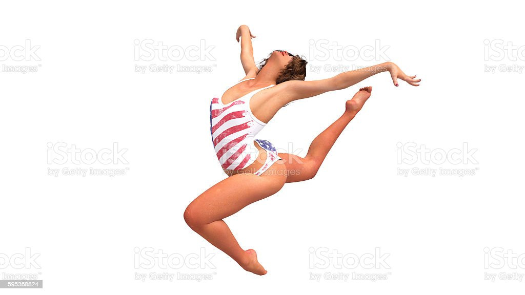 American gymnast jumping, girl training gymnastics on white background stock photo