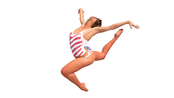 American gymnast jumping, girl training gymnastics on white background stock photo
