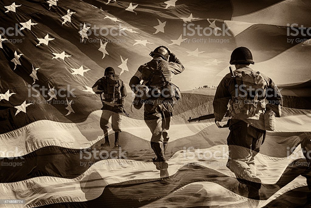 American Heroes - WWII Combat Soldiers Composite Three Active Duty American Soldiers Running Through a horizontal image of a field of stars and stripes.  Battle ready and running.  Sepia Toned.  Grain.  I have a color image if asked.  Composite Image. 2015 Stock Photo