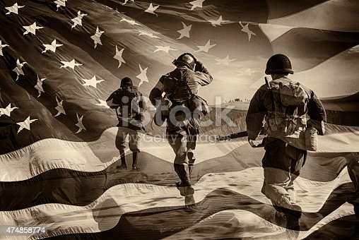 Three Active Duty American Soldiers Running Through a horizontal image of a field of stars and stripes.  Battle ready and running.  Sepia Toned.  Grain.  I have a color image if asked.  Composite Image.