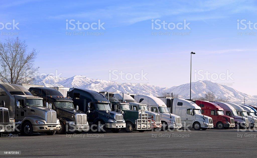 American highway truck stop stock photo
