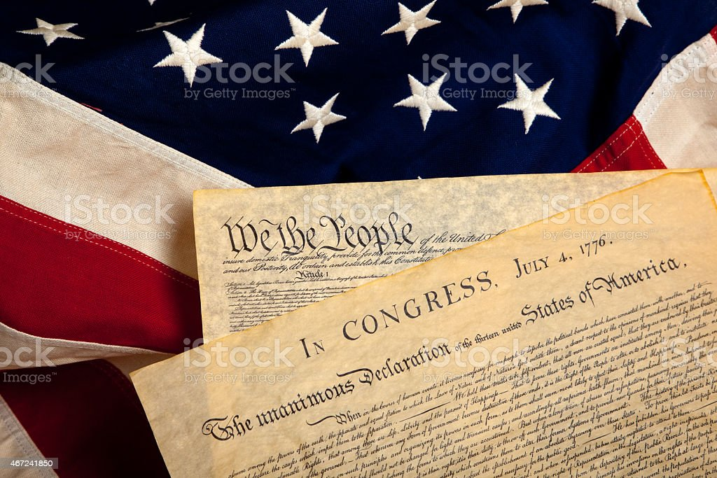 American historic documents on a flag stock photo