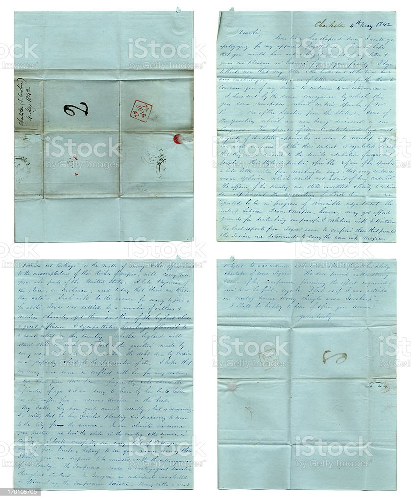 American history - handwritten letter from 1842 royalty-free stock photo
