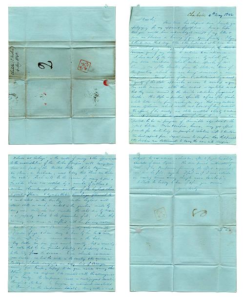 american history - handwritten letter from 1842 - celebrities of age bildbanksfoton och bilder
