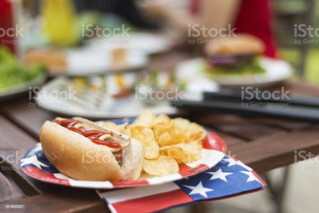 American Hot Dog stock photo