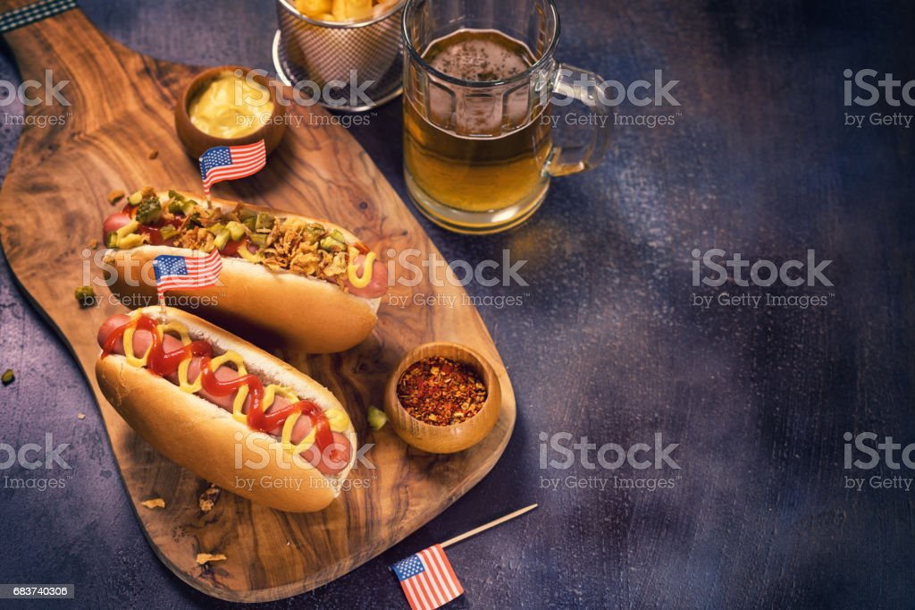 American Hotdog for 4th of July stock photo