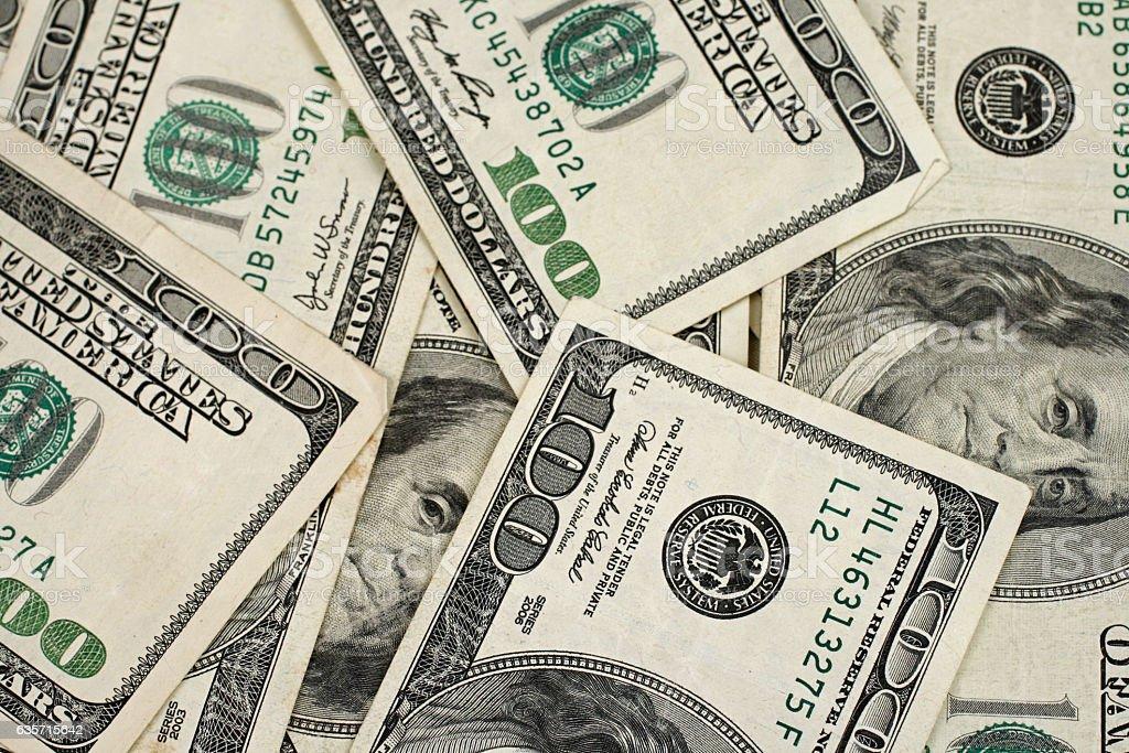 American Hundred Dollar Bill Background royalty-free stock photo