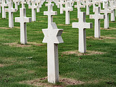 American cemetery in Normandy beside Omaha beach where the remains of more than 8000 american soldiers fallen during the II Worl War are buried