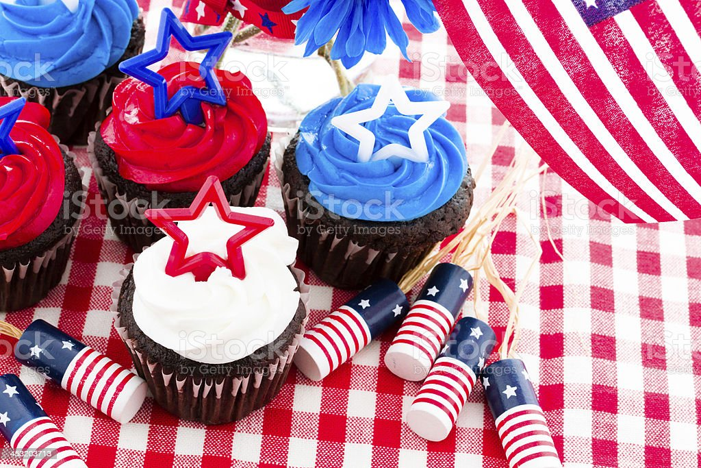 American Independence Day themed cupcakes and decorations  stock photo