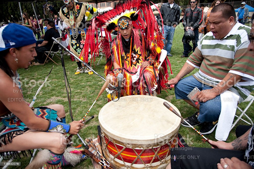 American Indians Drumming at a Pow Wow stock photo