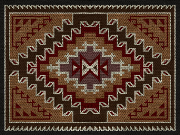 american indians tribal blanket pattern. - navajo culture stock photos and pictures
