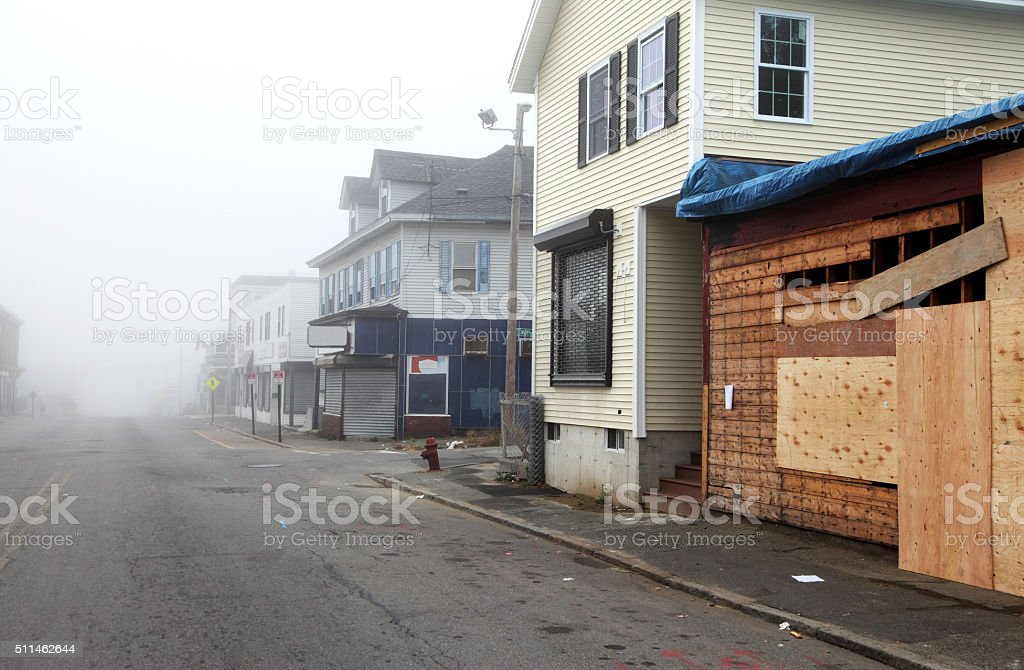 American inner-city neighborhood stock photo