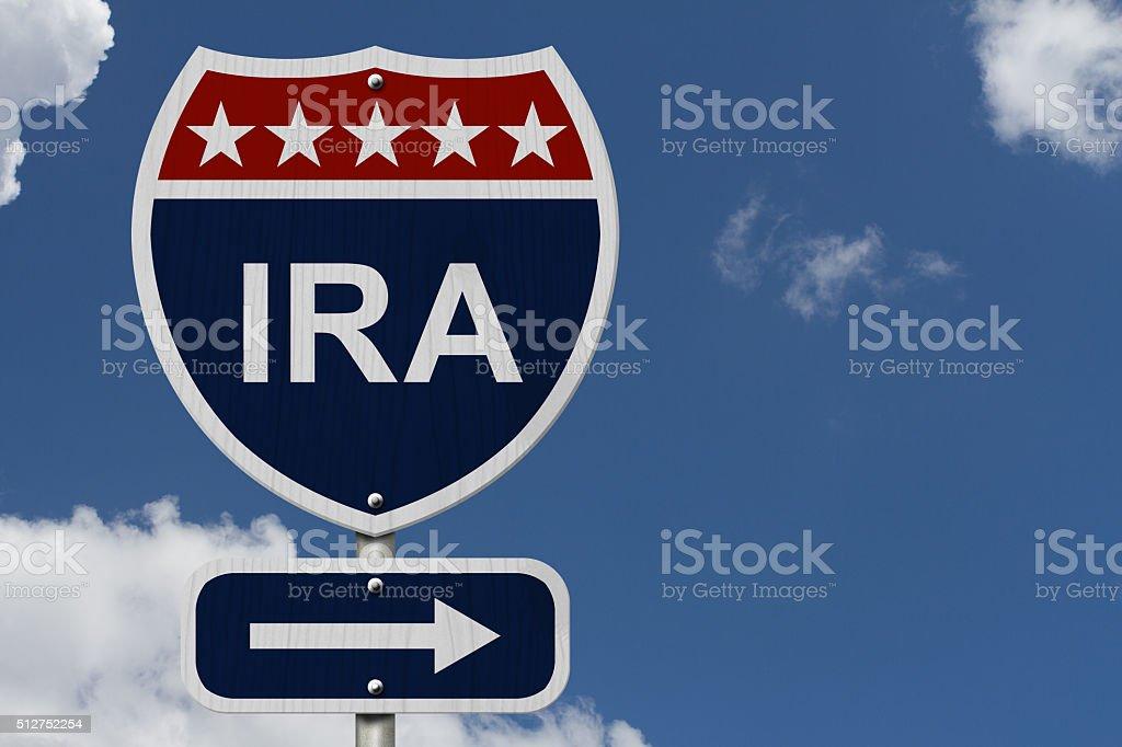 American IRA Highway Road Sign stock photo