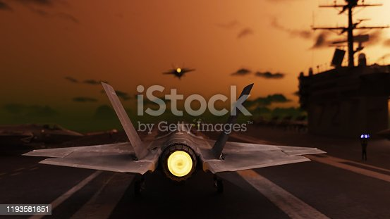 American jet fighter preparing to take of from aircraft carrier 3d render