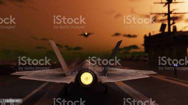 Photo of American jet fighter preparing to take of from aircraft carrier 3d render