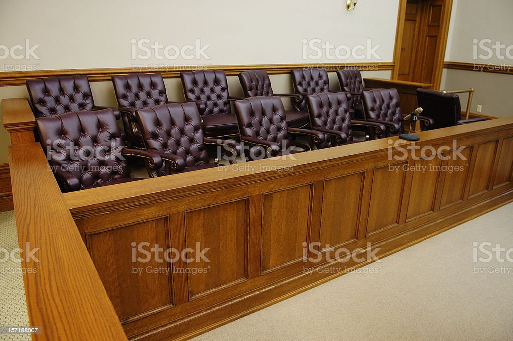 American jury box, wood trim and white walls in background stock photo