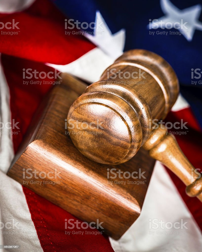 American Justice Gavel and Sounding Block stock photo