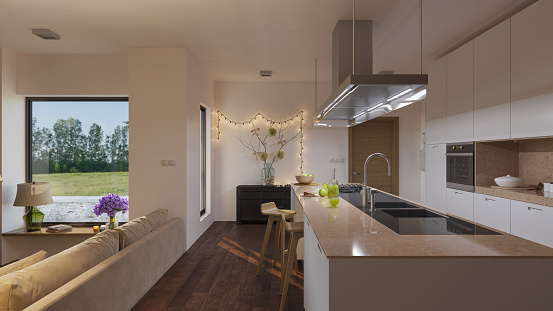 American Kitchen with Furniture and Decorations