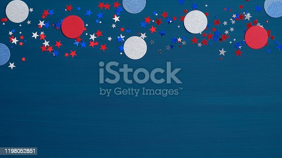 971061452 istock photo American labor day banner template. Confetti stars in American flag colors and decorations on blue background. USA Presidents Day, Independence Day, Memorial Day, US election concept. 1198052851