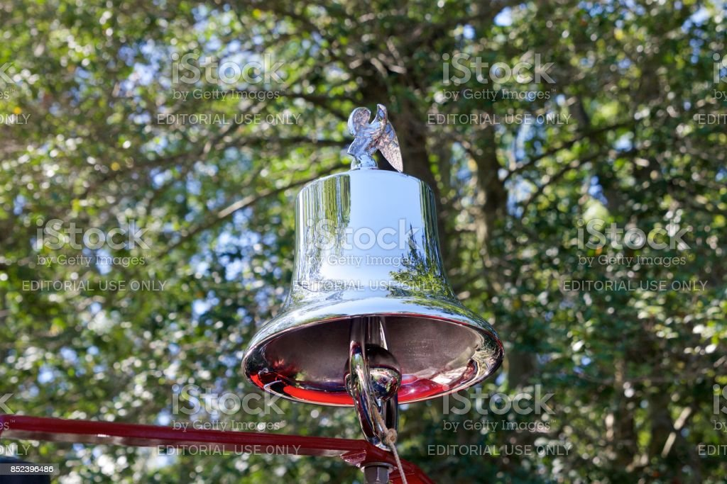 1925 American LaFrance fire engine chrome bell stock photo