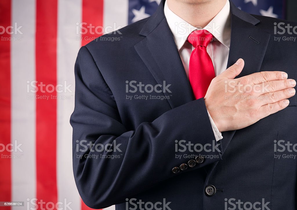American Leader With Hand On Heart stock photo