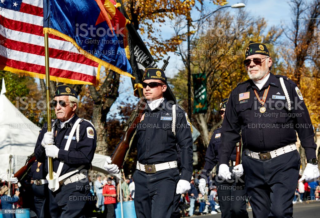 American Legion in the Veterans Day Parade stock photo