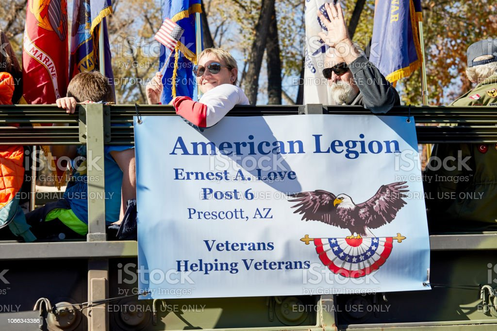 American Legion in Veteran's Day Parade stock photo