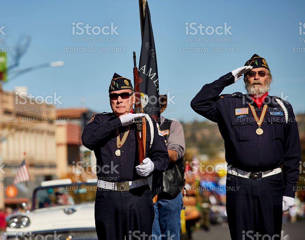 American Legion Veterans participating in Veterans Day Parade stock photo