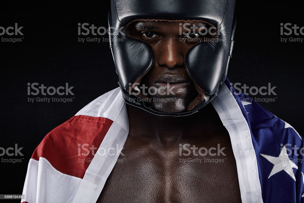 c44ab1e65878 ... asymmetrical moto jacket. American male boxer with USA flag - Stock  image .