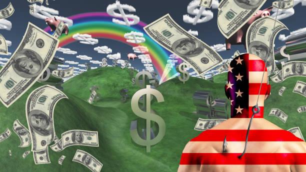 amerikanischer mann ist vor dem reichtum angeschlossen. - bankhaken stock-fotos und bilder
