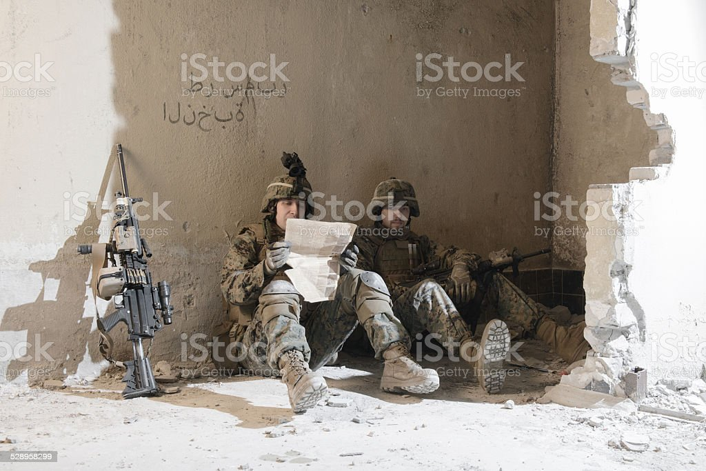 American Marines taking rest. stock photo