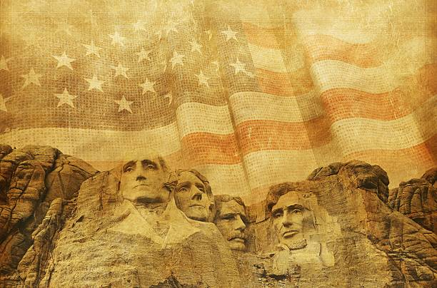 American Memorial Background American Memorial Background with Rushmore National Memorial and Vintage United States Flag. Great Background For American Presidents Day. mount rushmore stock pictures, royalty-free photos & images