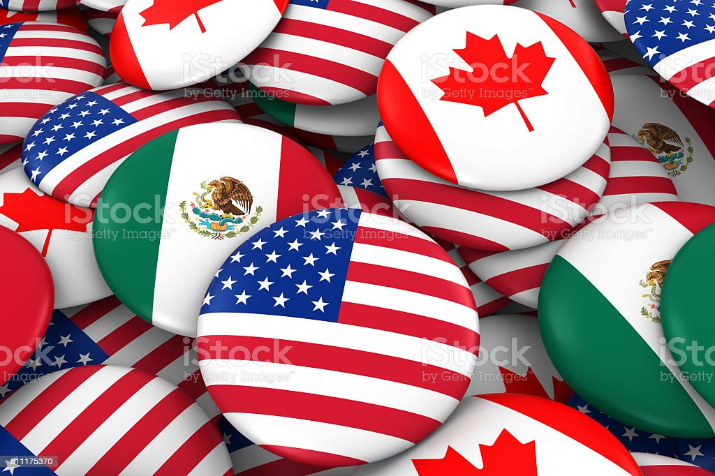 American, Mexican and Canada Flag Badge Pile Background 3D Illustration stock photo