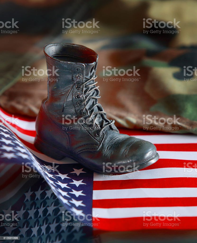 American militar boot stock photo