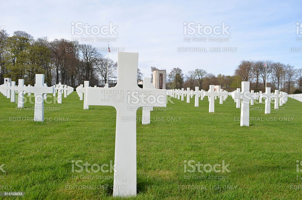 American military cemetery situated next to luxembourg city. stock photo