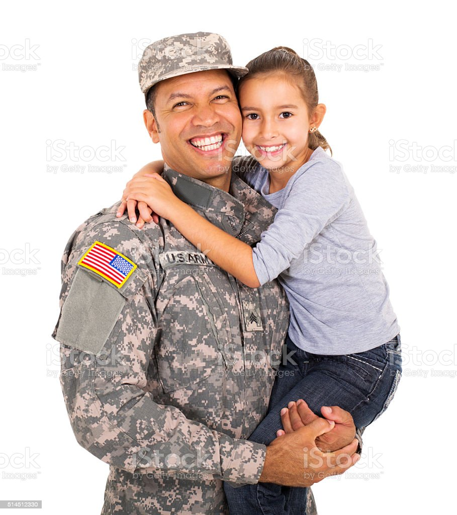 american military father carrying little daughter stock photo