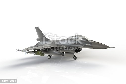 104268934 istock photo F16, american military fighter plane on white background, 3D rendering 835775534