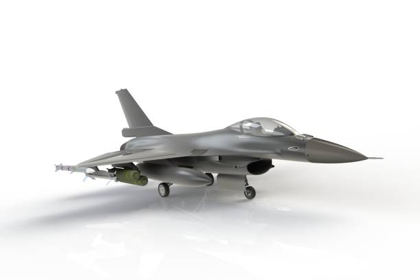 F16, american military fighter plane on white background, 3D rendering F16, american military fighter plane on white background, 3D rendering f 16 fighting falcon stock pictures, royalty-free photos & images