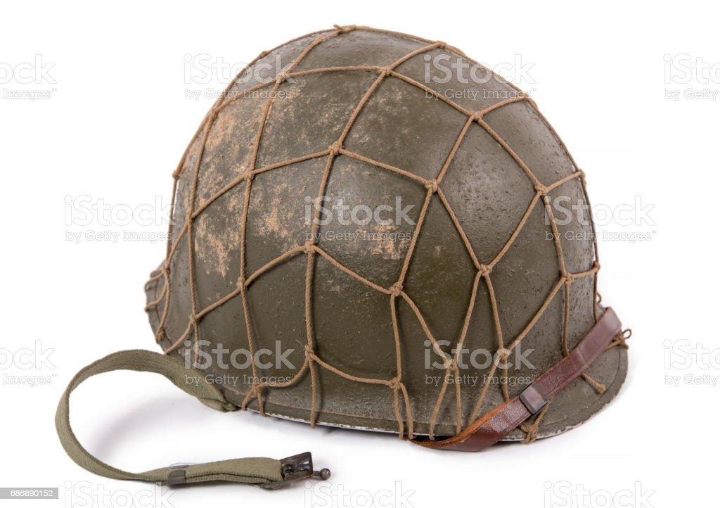 American military helmet on white background stock photo