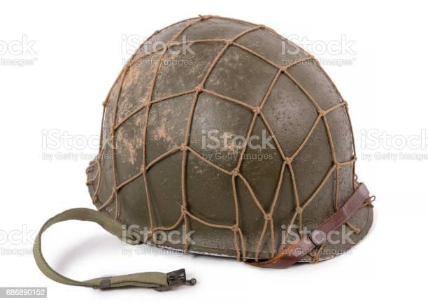 American military helmet on white background