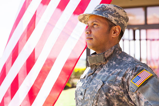 american military serviceman american military serviceman looking away sergeant stock pictures, royalty-free photos & images